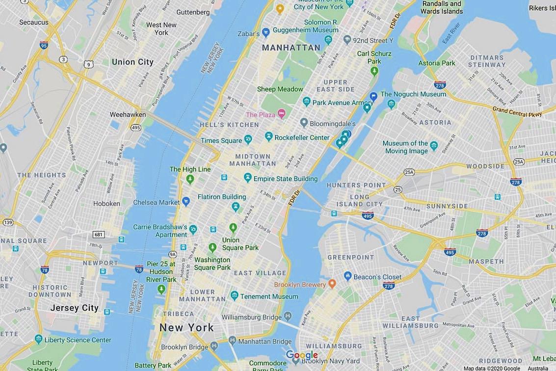 New York City map travelwishlist