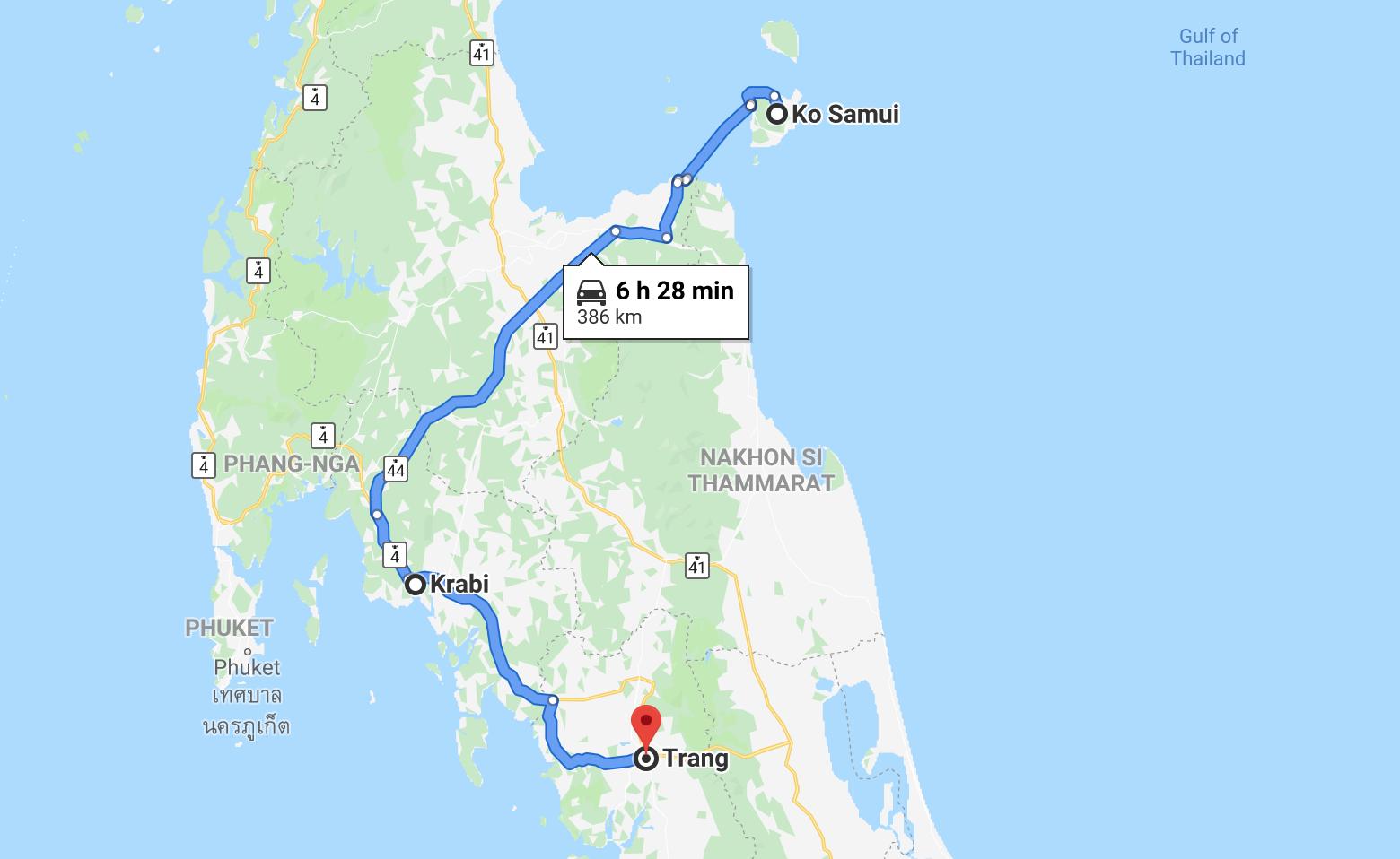 Thailand beaches map