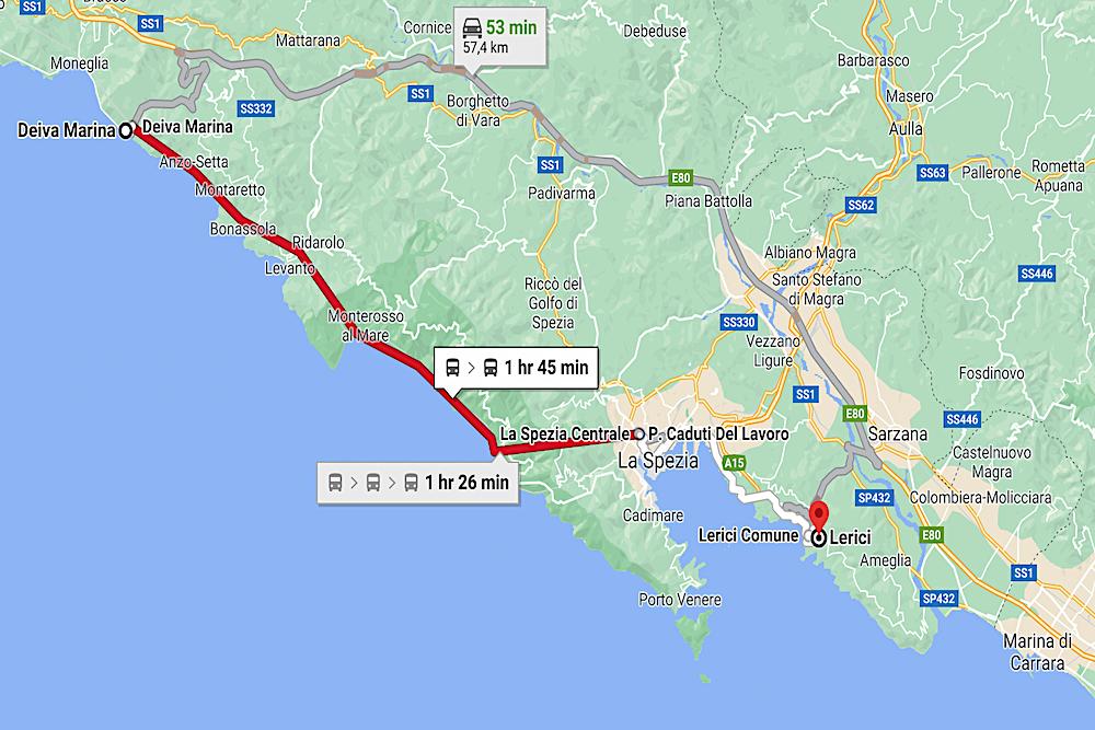 Italian Riviera travelwishlist map