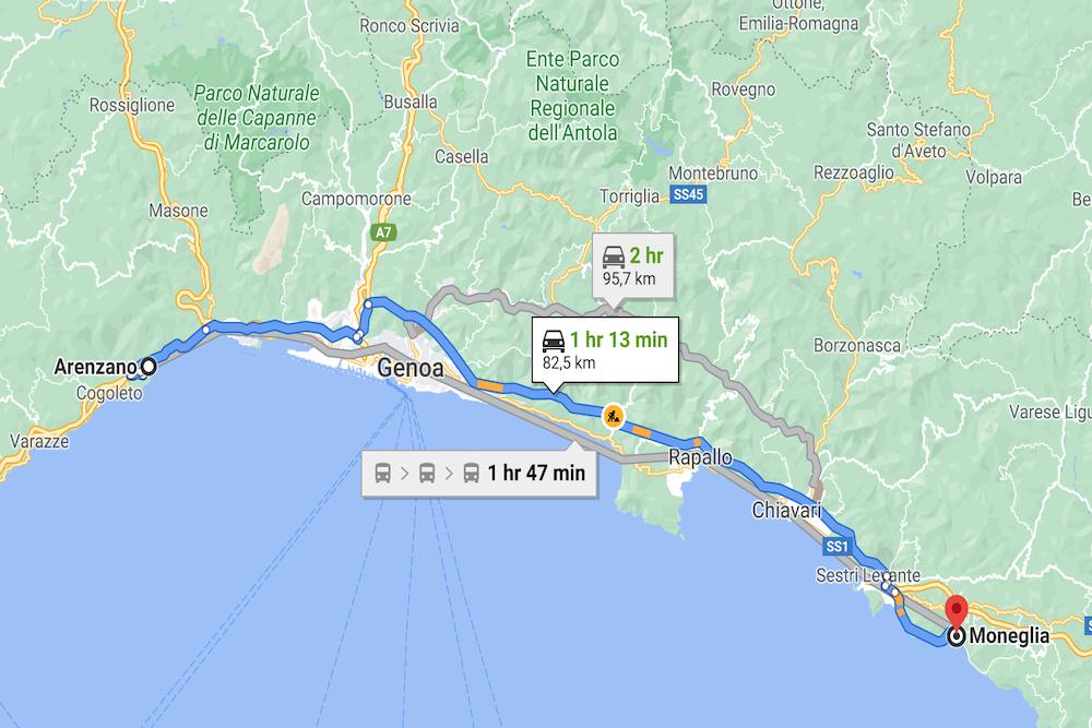 Italian Riviera, Genoa, Map, twisht